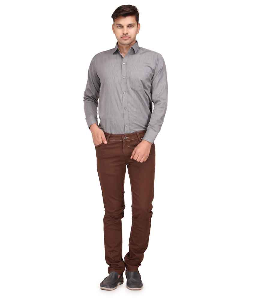 Canary London Brown Cotton Blend Slim Fit Jeans