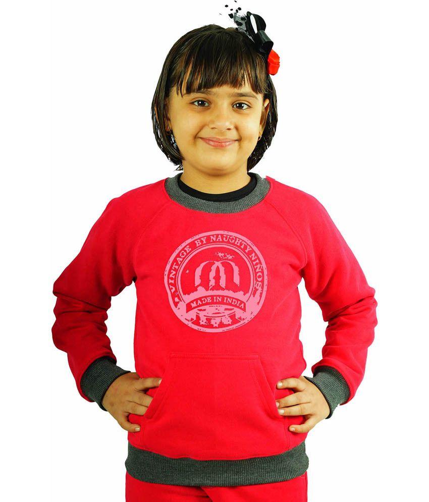 Naughty Ninos Red Cotton Sweatshirt With Grey Print