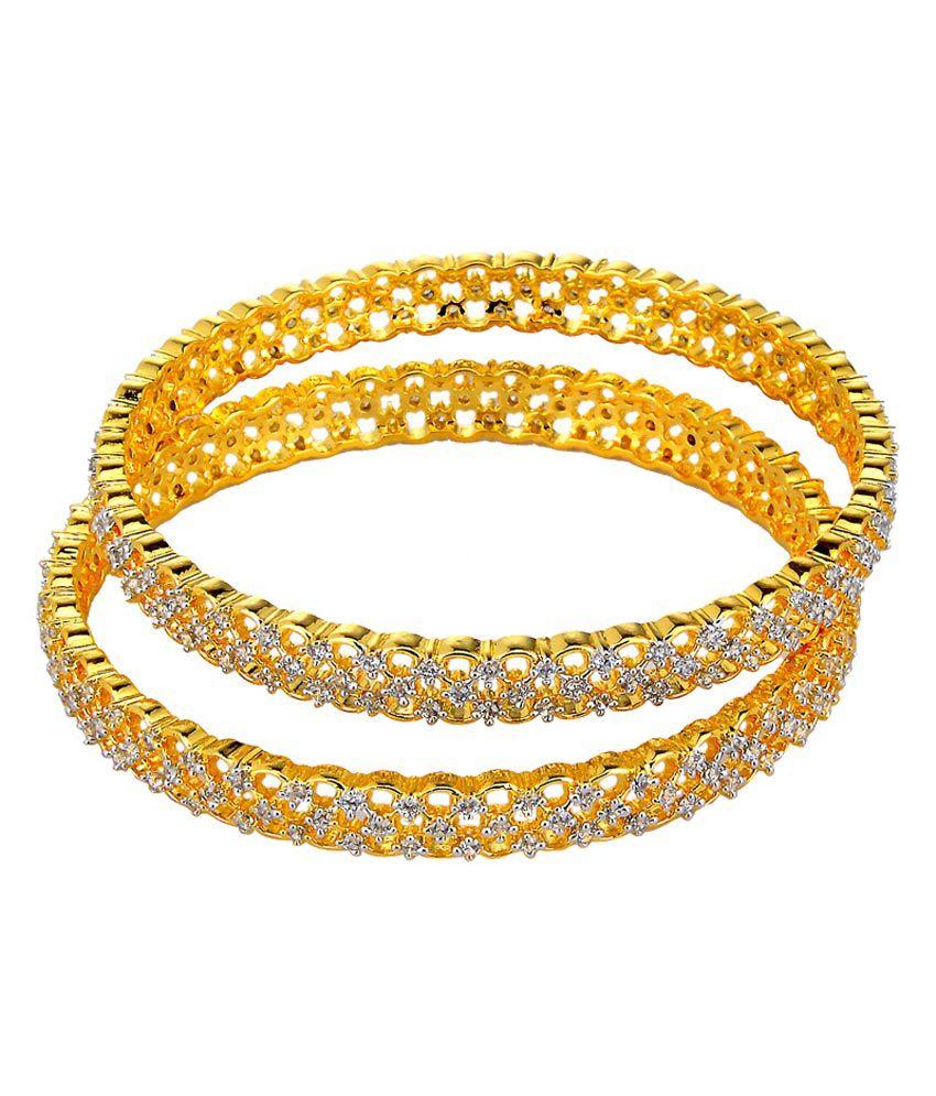 Gehnashop Yellow Style Diva Ethnic Cz Bangles Set