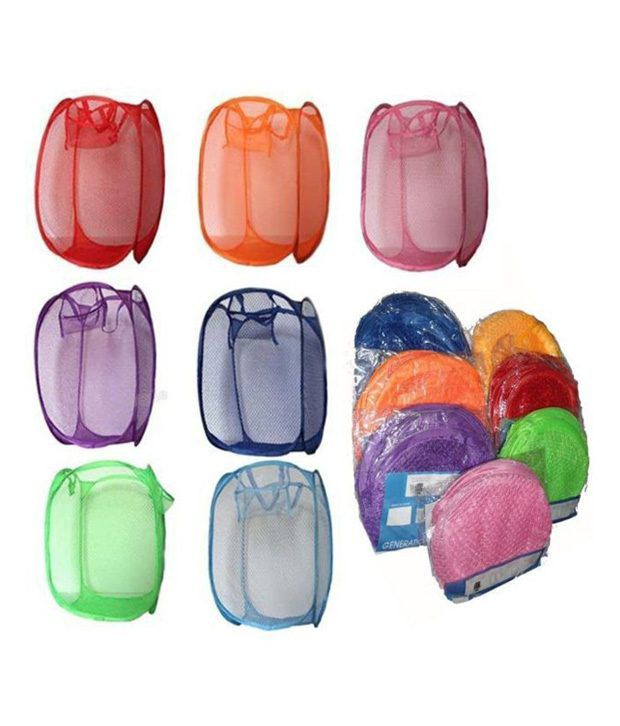 Imported 5 Pc Set Large Folding Big Laundry Bag Basket Clothes Storage Hanger 36x36x70 Cm