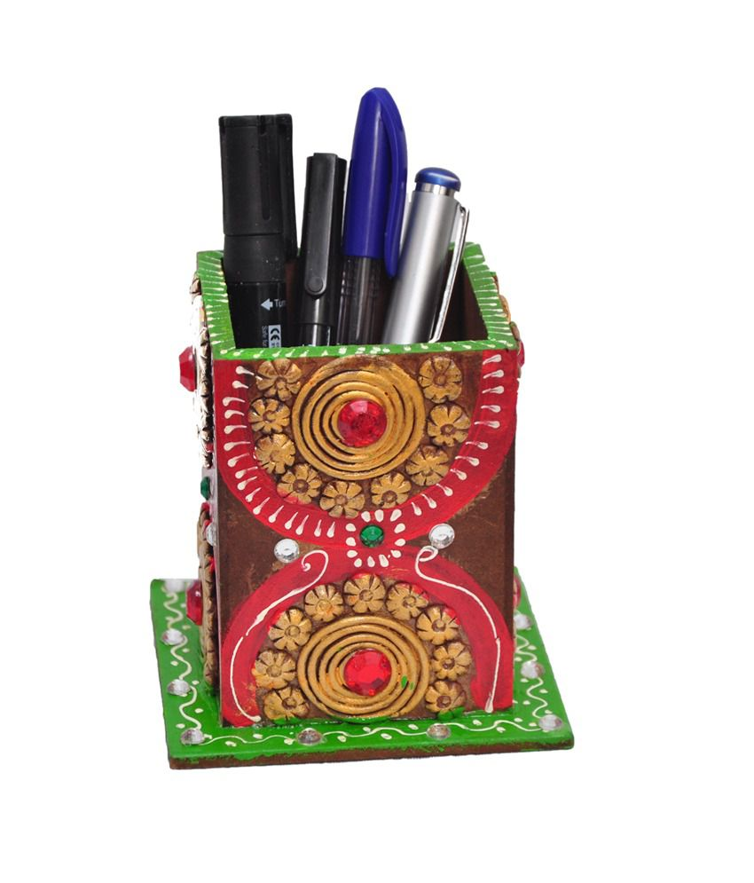 Multicolor wooden Paper mashe Pen Stand