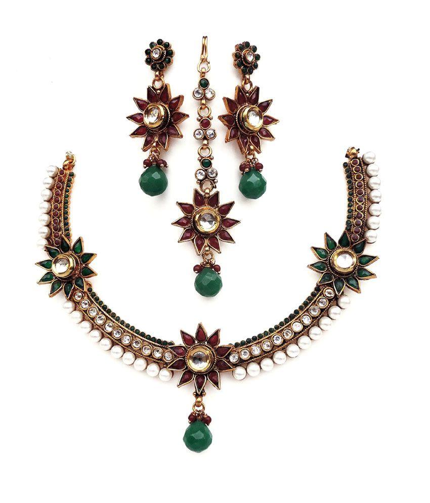 Kundaan Designer Polki Necklace Set With Long Earring And Mang Tika