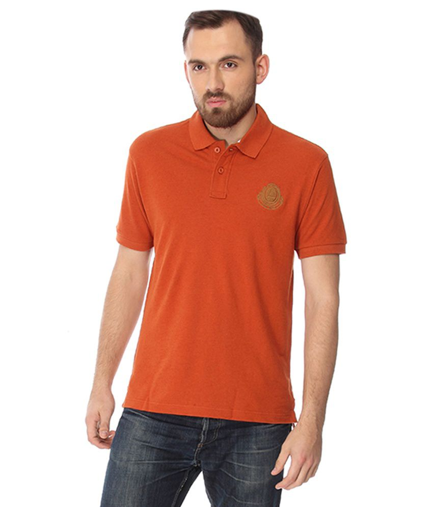 Laven Orange Cotton Blend T-shirt