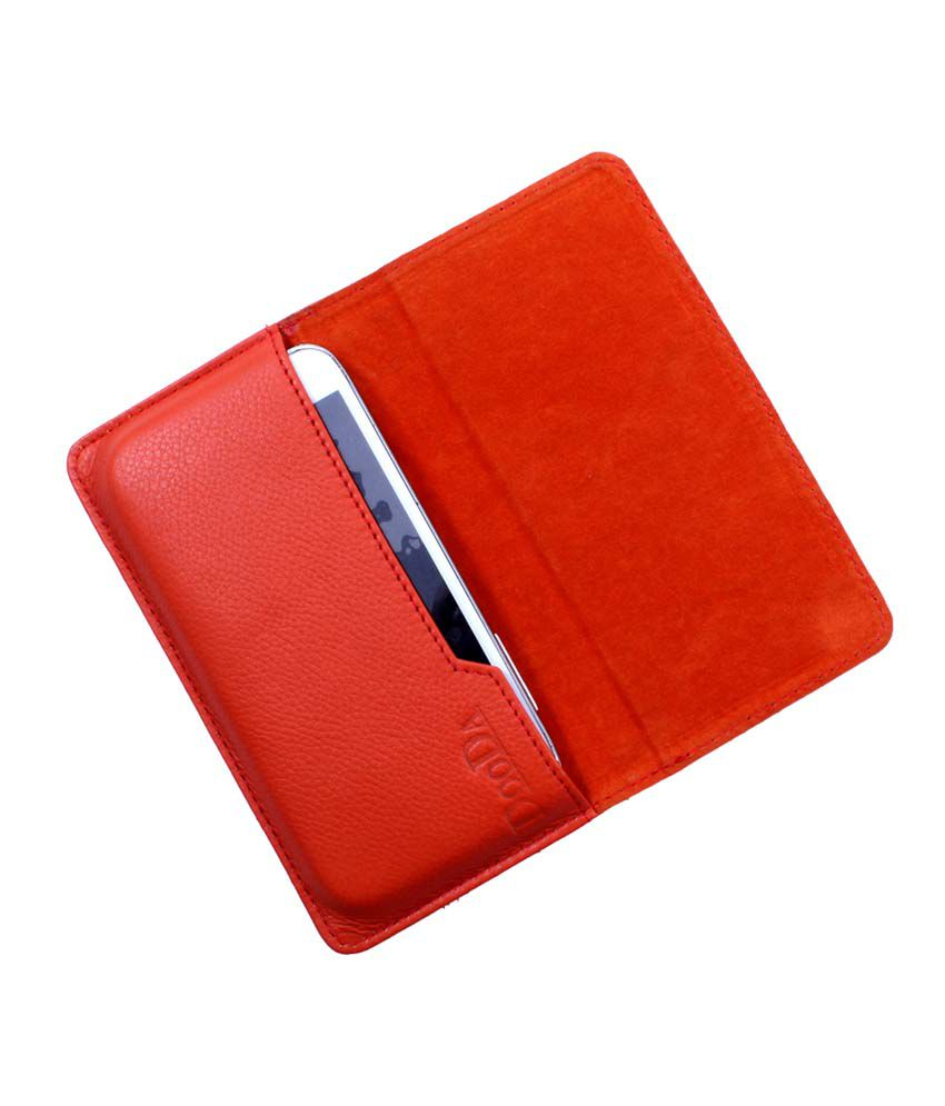 Dooda Genuine Leather Flip Pouch Case For Karbonn A1 Star
