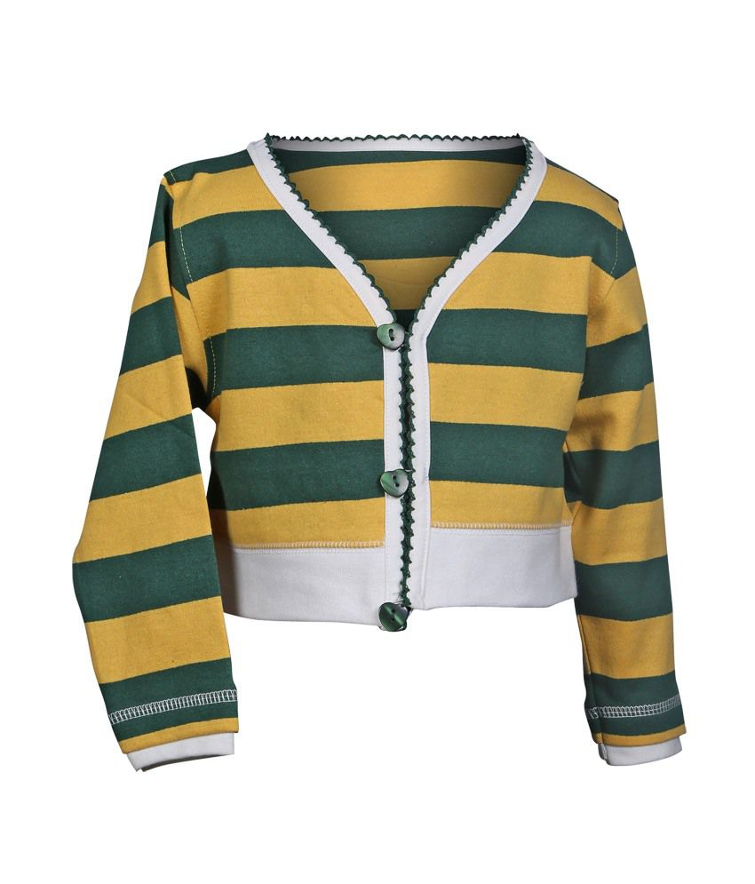 Gw Impex Green And Yellow Long Sleeves Stripes V-neck Sweaters For ...