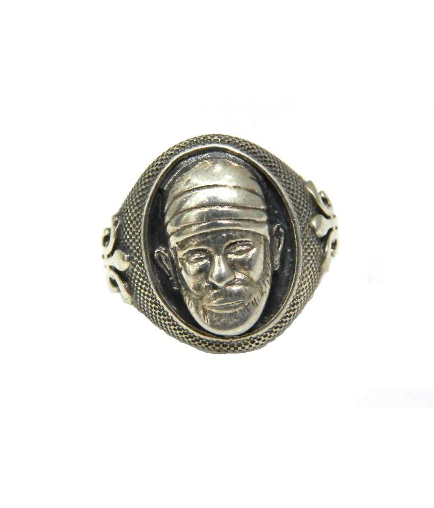 sss imported 92 5 oxidised silver sai baba designer ring