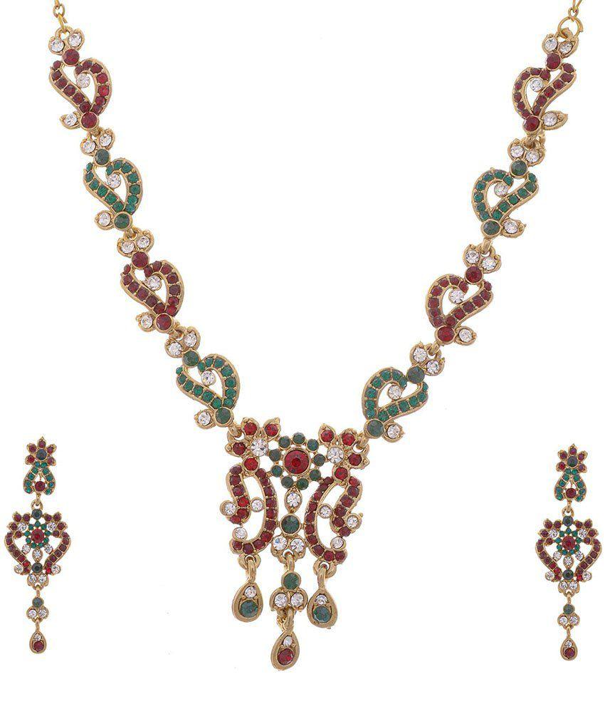 Aditri Adorable Green & Red American Diamond Necklace Set