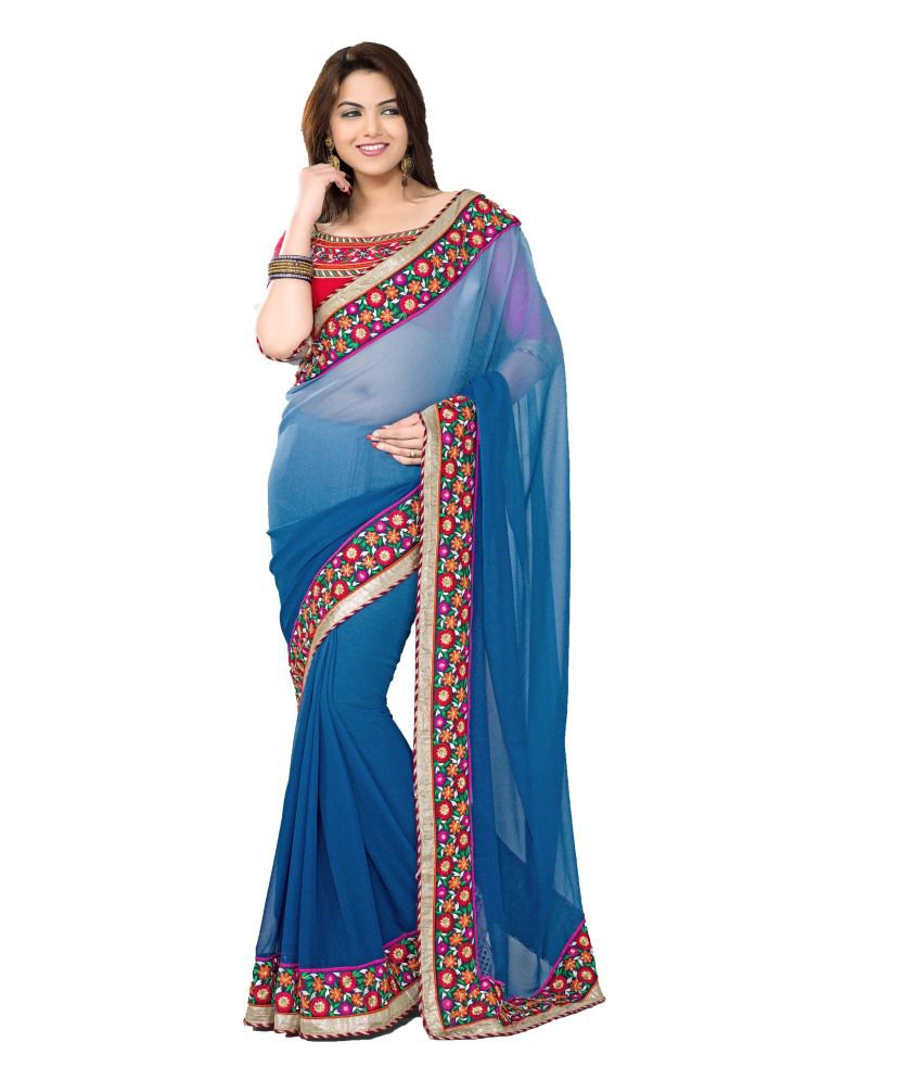 Amorindia Designer Faux Georgette Saree With Blouse Piece