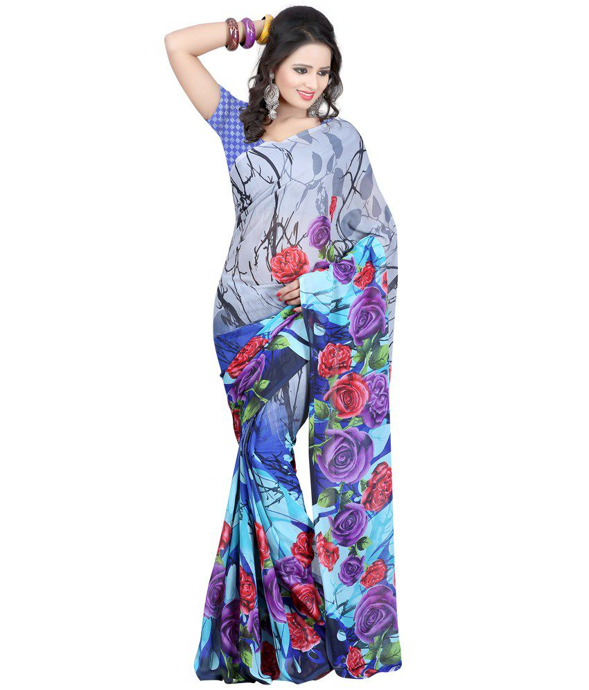 Fashiondeal Grey Georgette Saree