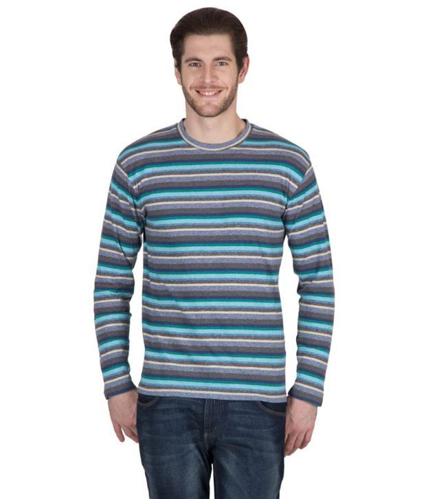 Hypernation Blue and Black Color Striped Round Neck Cotton Full Sleeves T-shirts For Men