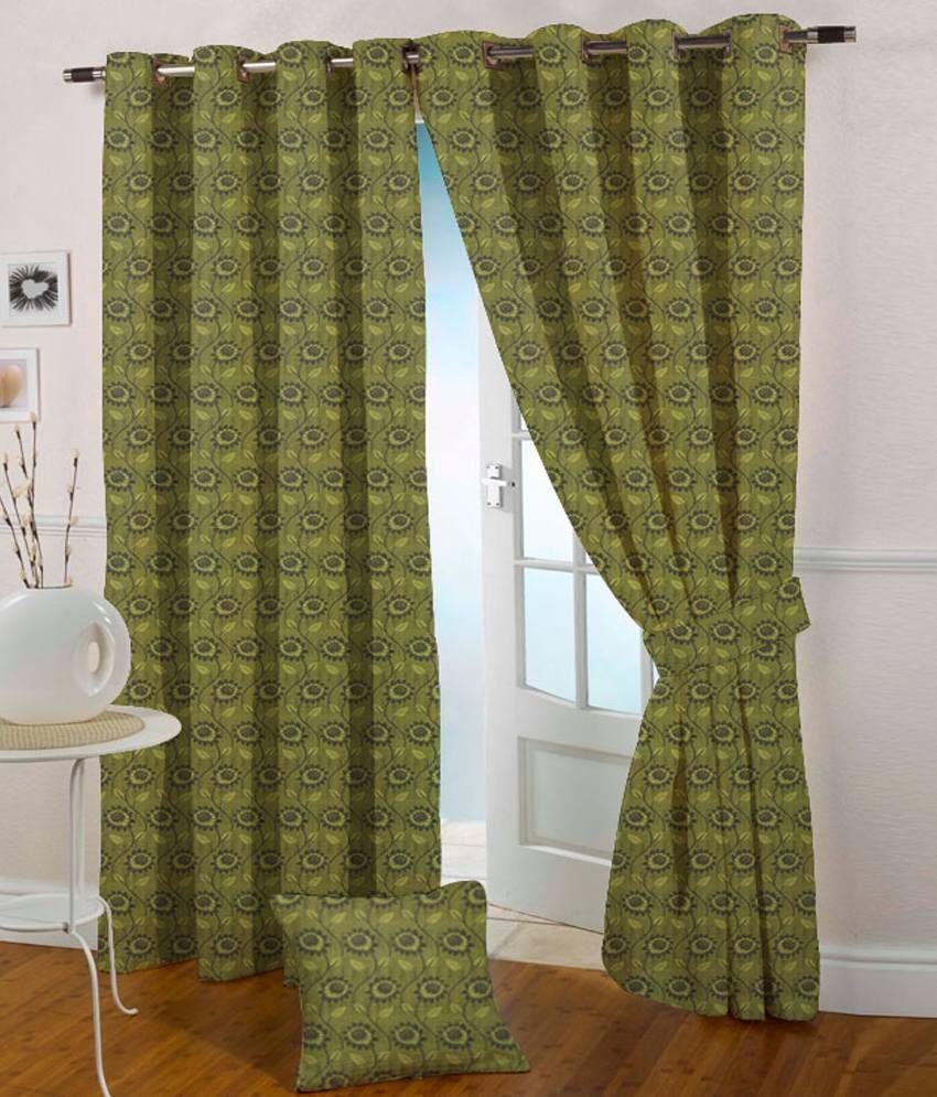 Presto Single Long Door Eyelet Curtain Floral Green