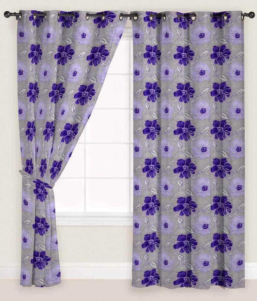 Presto Single Door Eyelet Curtain Floral Purple