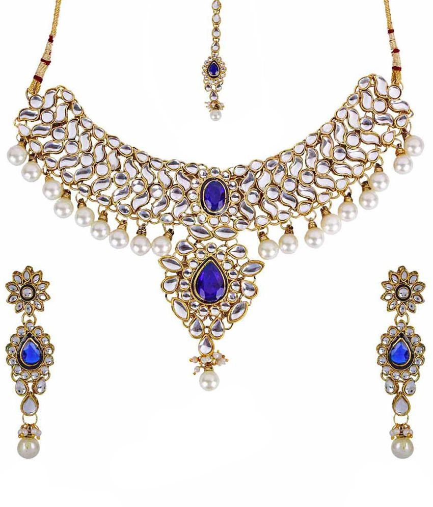 Shining Diva Purple & Golden Pearl Drops Choker Style Necklace Set With Maang Tika