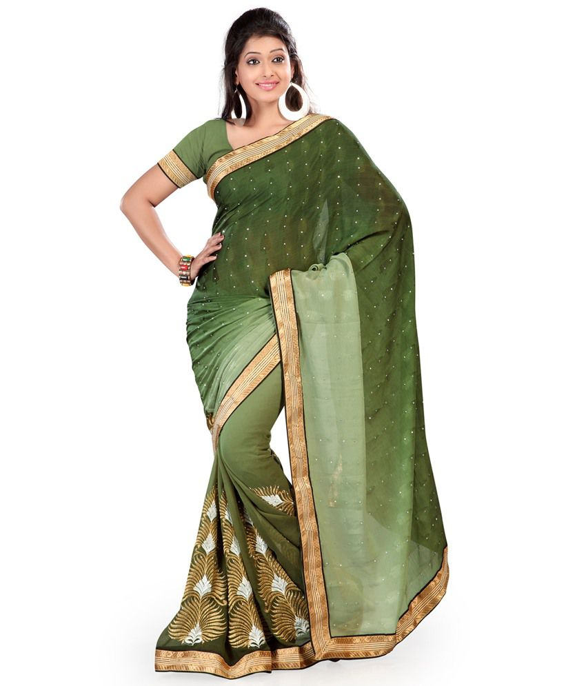 Indian House Green Faux Georgette Saree