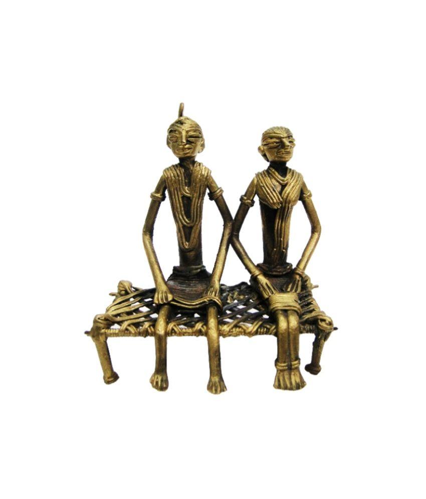 Kraftnation-dhokra Art Tribal Couple Sitting On Khaat
