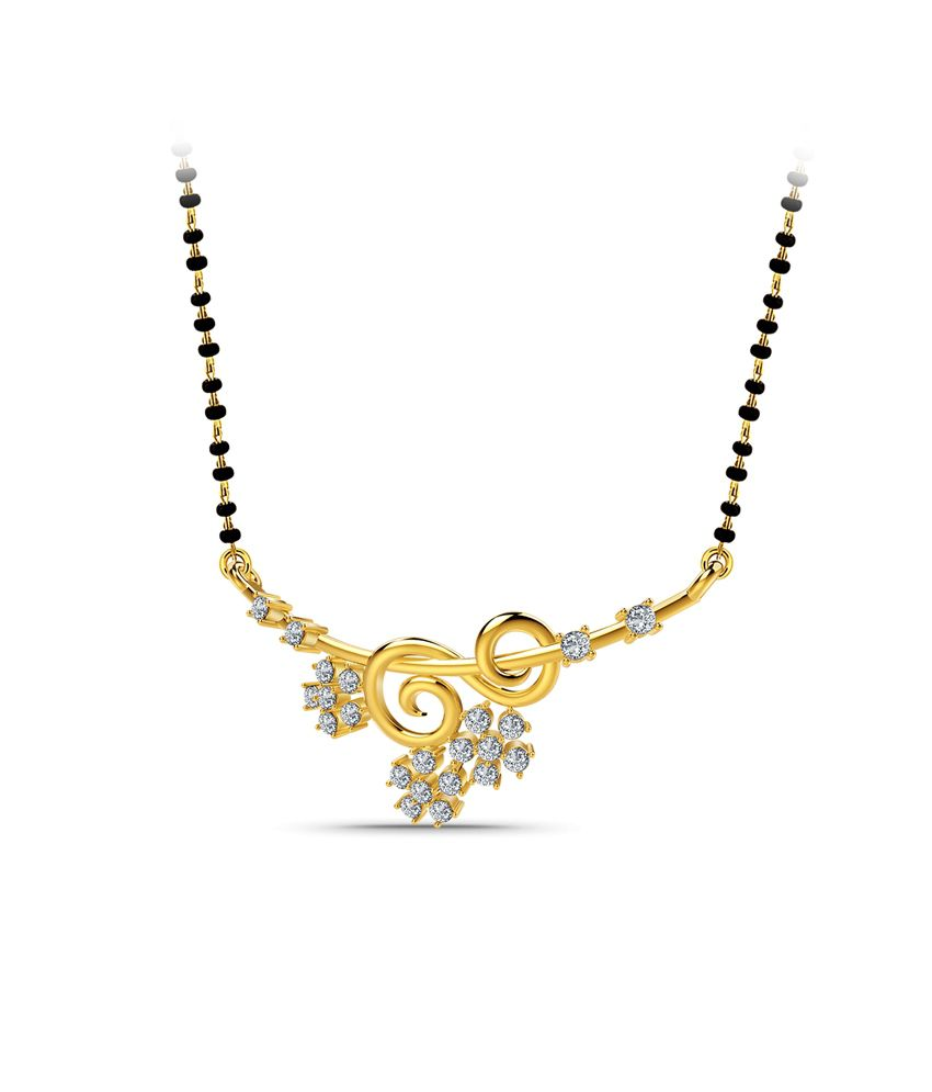 Naayab Diamond Loop Contemporary Gold 18kt Hallmarked Mangalsutra Without Chain