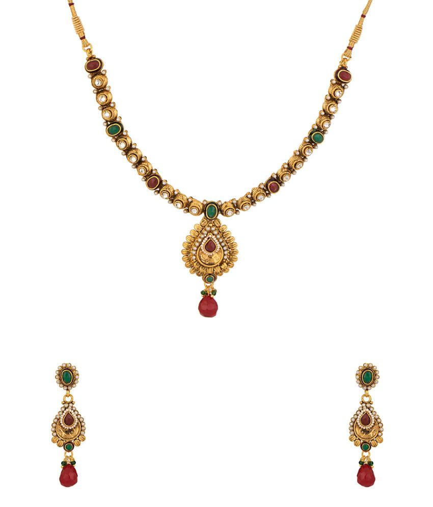 Voylla Gold Plated Necklace Set Adorned With Shiny CZ, Red & Green Color Stones And Pearl Beads