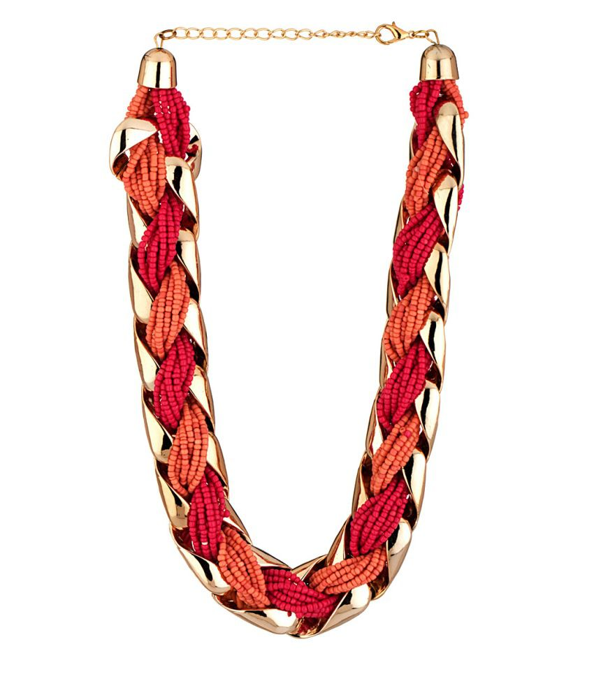 Voylla Statement Necklace With Beaded Braid Pattern
