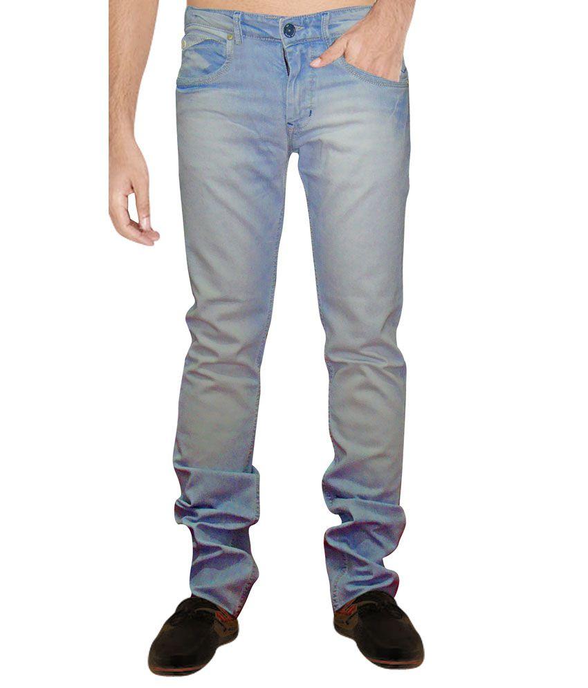 Carbon Blue Cotton Faded Regular Fit Jeans