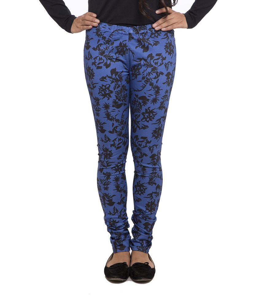 Fashion Cult Blue Cotton Lycra Jeggings