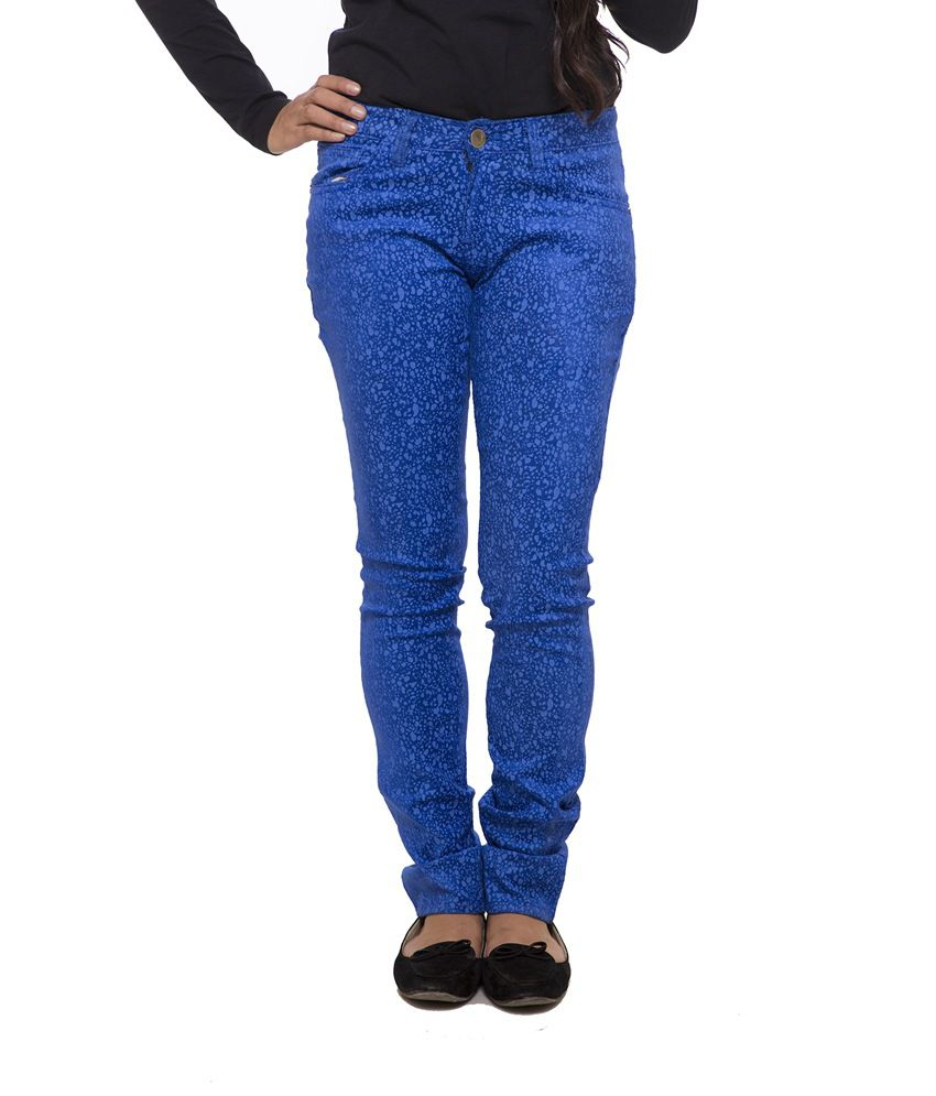 Fashion Cult Blue Poly Viscose Trousers