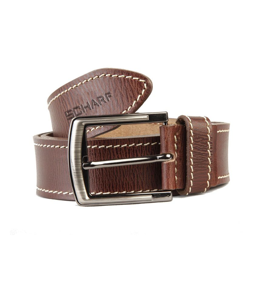 Scharf Brown Leather Casual Belt For Men