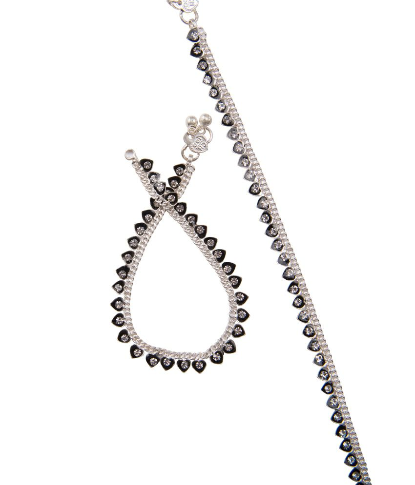 Taj Pearl Silver Black Heart Anklets