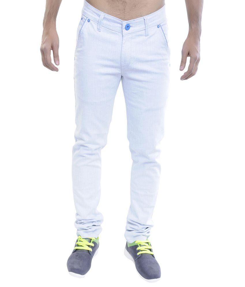 12 Denim White Cotton Straight Fit Jeans