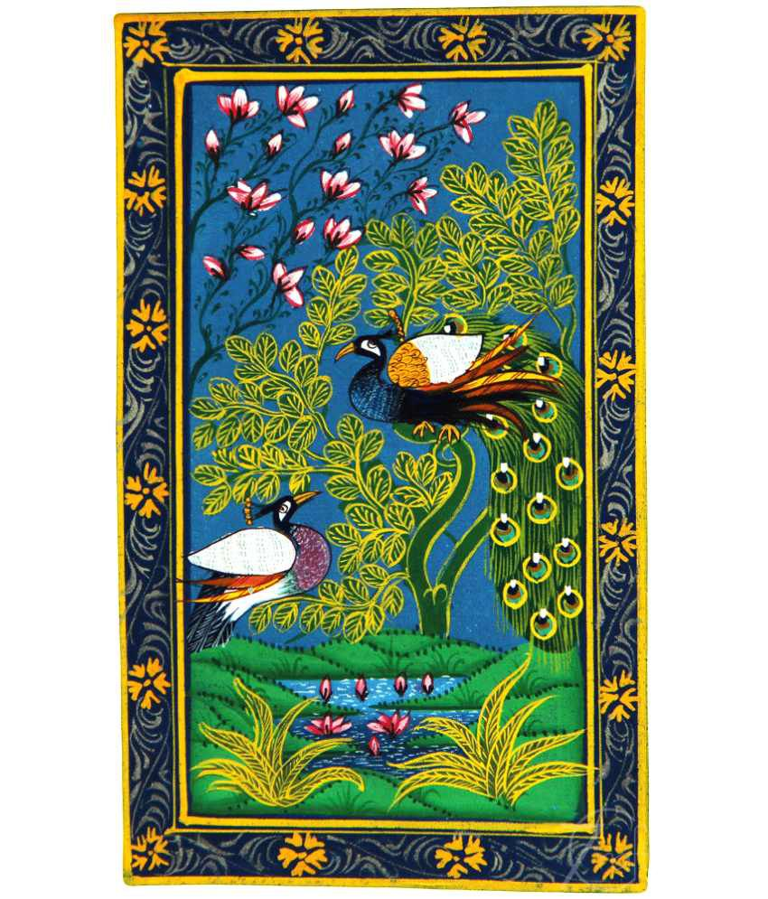 Handmade Indian Miniature Painting-Peacock and Peahen (With Golden Frame)
