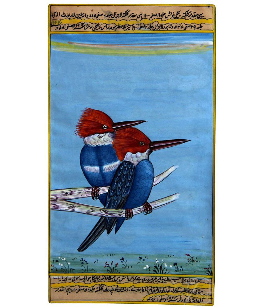 Handmade Indian Miniature Painting-Kingfisher Birds (With Golden Frame)
