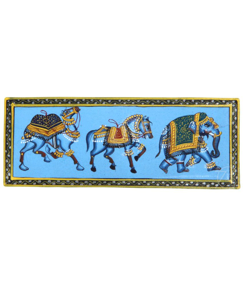 Handmade Indian Miniature Painting-Rajasthani Elephant,Horse,Camel Trio (With Golden Frame)