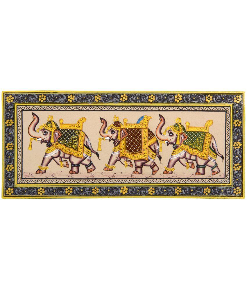 Handmade Indian Miniature Painting-Three Rajasthani Elephants (With Golden Frame)