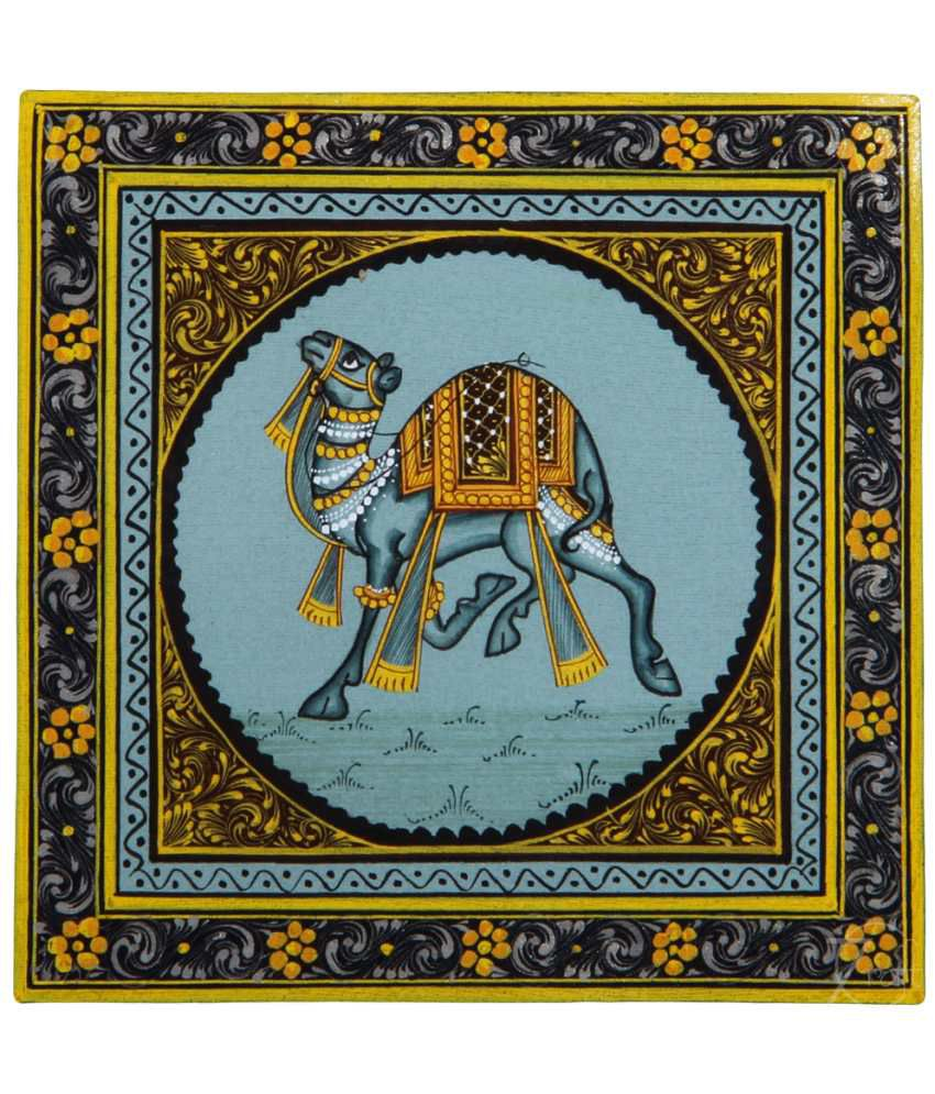 Handmade Indian Miniature Painting-Rajasthani Camel (With Golden Frame)