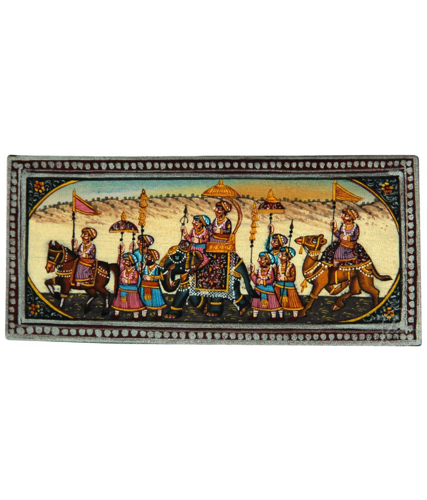 Handmade Indian Miniature Painting-King's Procession (With Golden Frame)