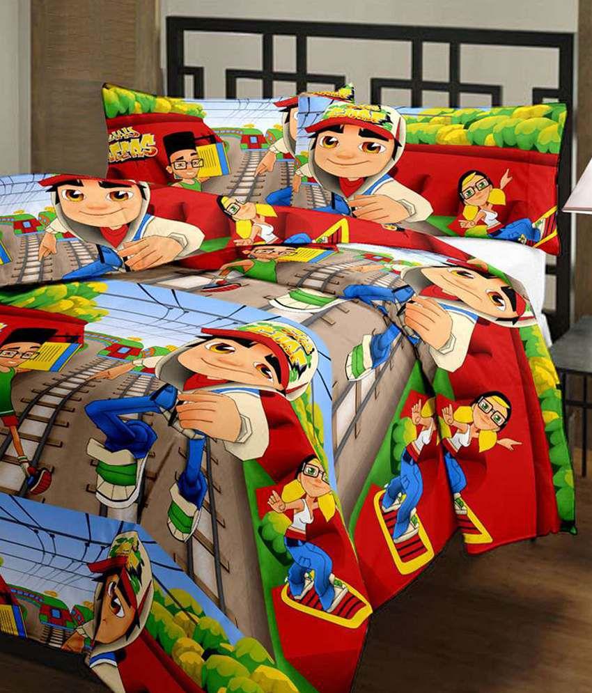 eCraftIndia Subway Surfer Kids Single Bed Reversible AC Blanket/Dohar