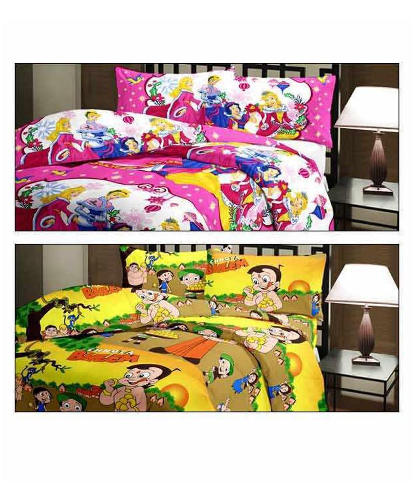 eCraftIndia Set Of Princess and Chota Bheem Design Single Bed Reversible AC Blanket/Dohar