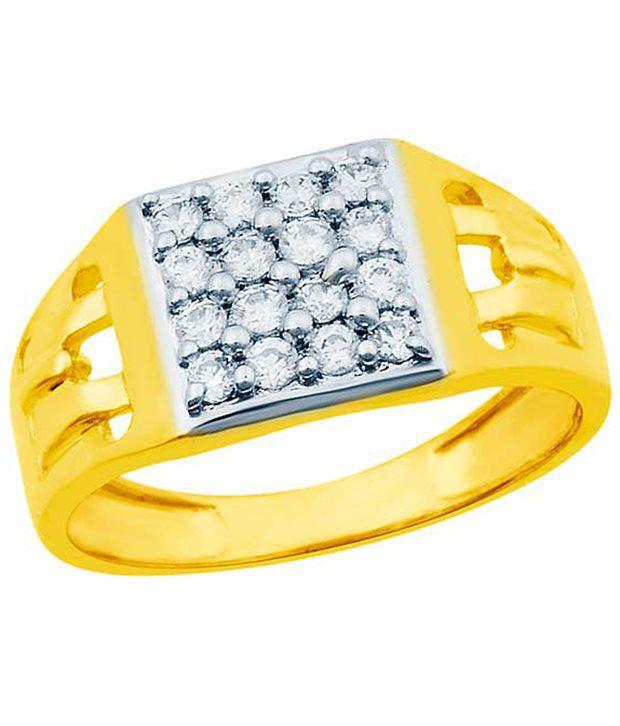Eldora Wonderful 18Kt Gold Plated CZ Ring For Men