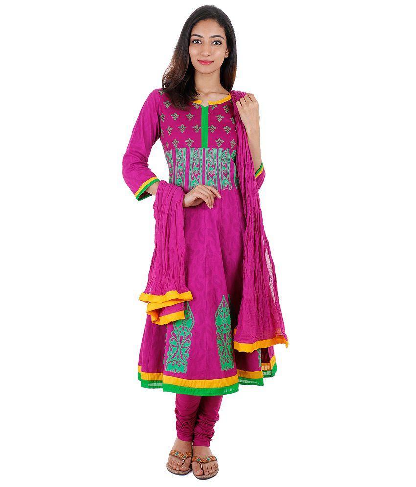 Estyle Purple Cotton Printed Anarkali Salwar Suit - Set Of 3