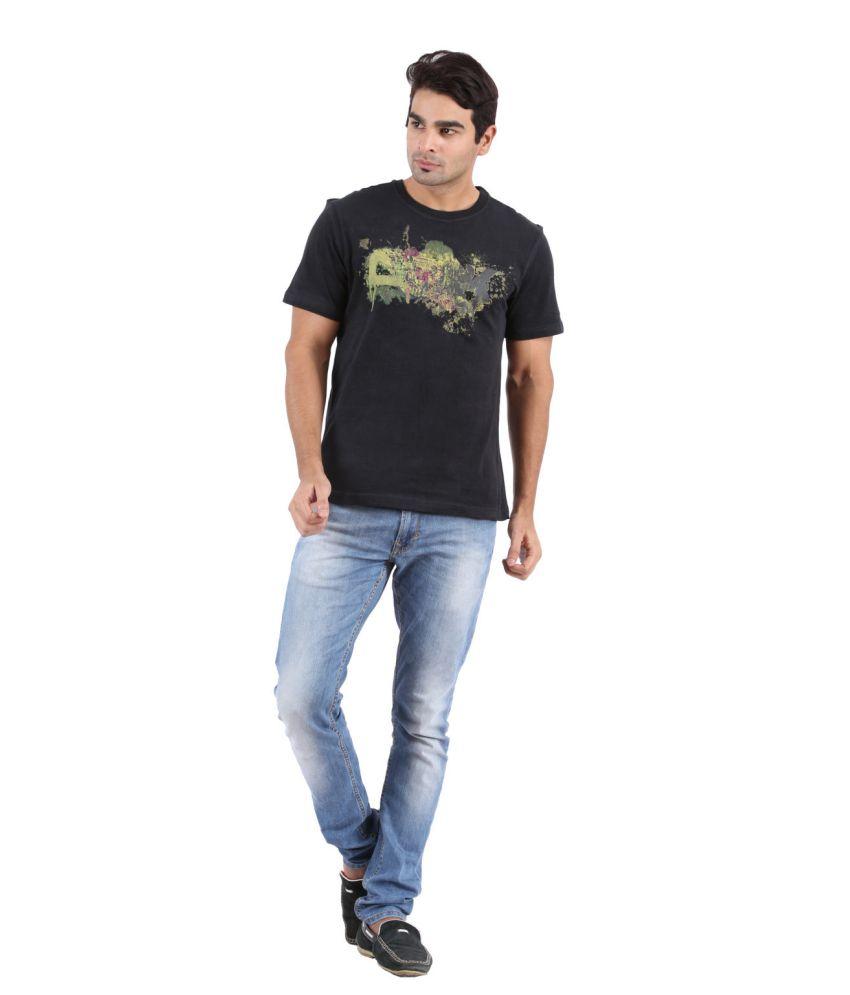 Goflaunt Black Cotton Round Neck Printed T Shirt