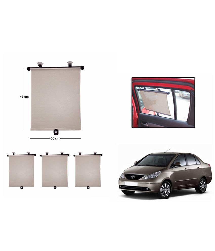 speedwav car side window roller sunshade beige set of 4 tata indigo buy speedwav car side. Black Bedroom Furniture Sets. Home Design Ideas