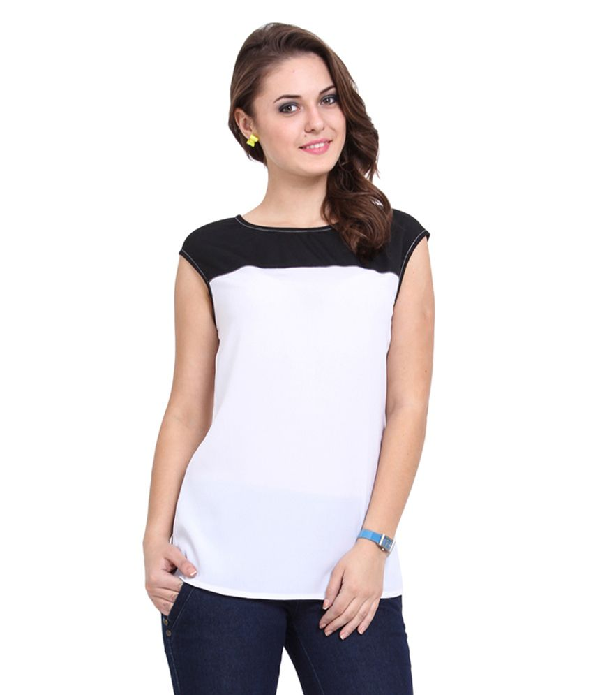 Crepe Dede's White Poly Crepe Round Neck Top