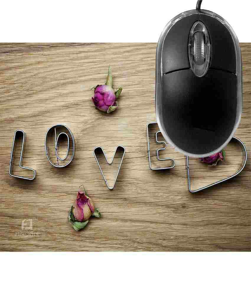 FineArts Love Rose Mousepad with Terabyte 3D Optical USB Mouse