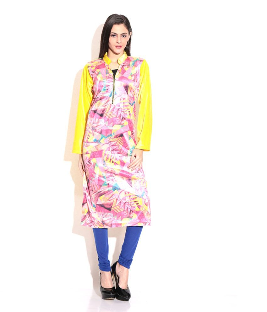 Grace Designs Stylish Front Zipper Yellow Velvet Kurti ...