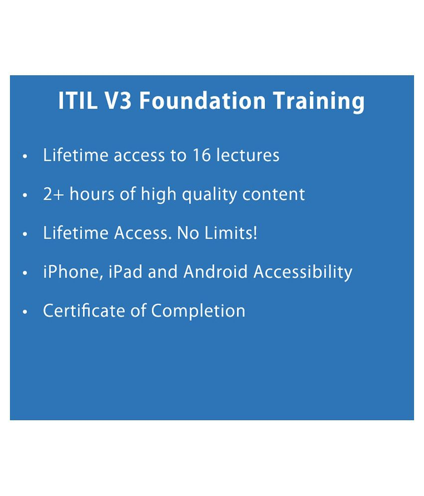 Itil V3 Foundation Training E Certificate Course Online Video