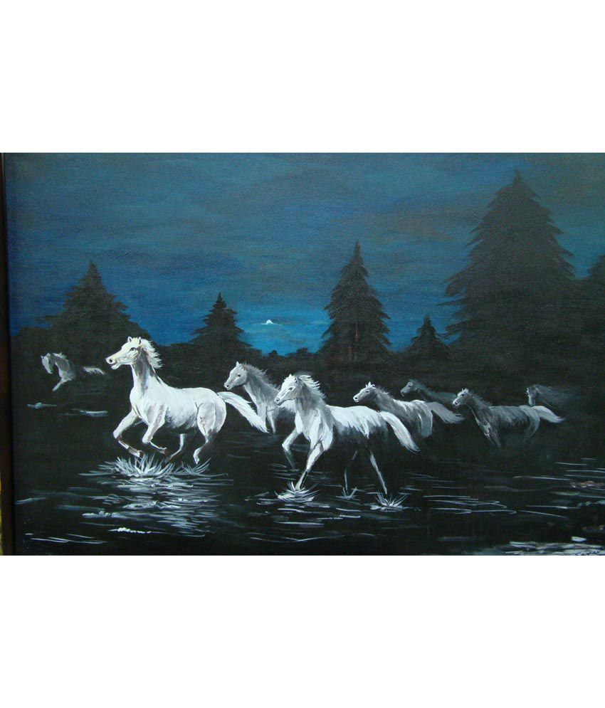 Sangeeta Agarwal White Horses At Night Painting For Home