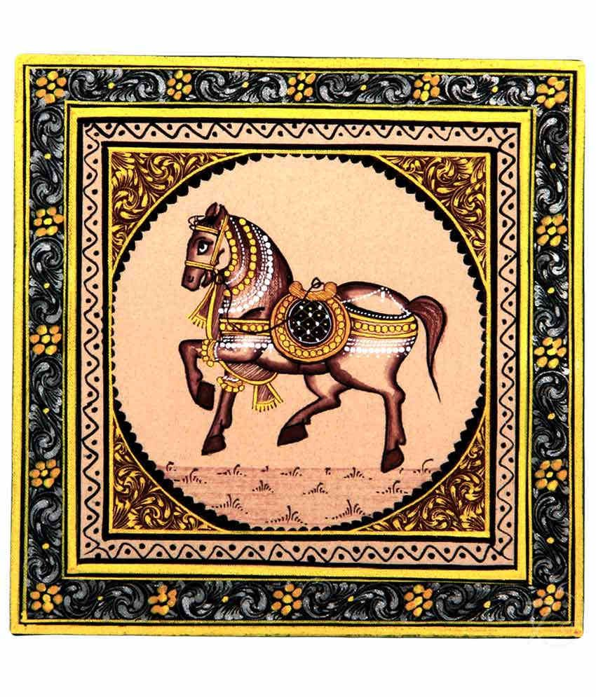 Handmade Indian Miniature Painting-Rajasthani Horse (With Black Frame)