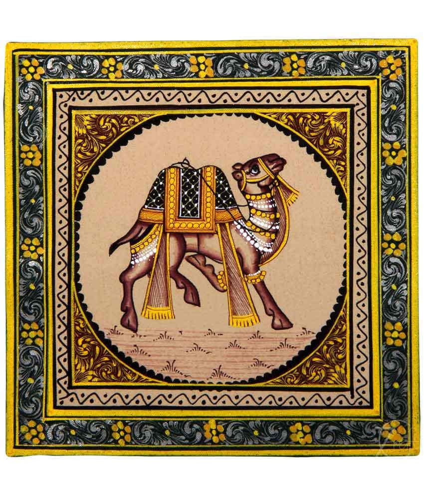 Handmade Indian Miniature Painting-Rajasthani Camel (With Black Frame)