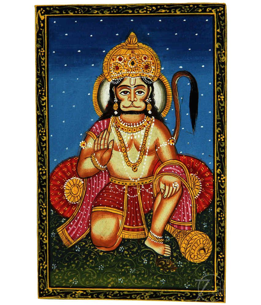 Handmade Indian Miniature Painting-Hanuman (With Black Frame)