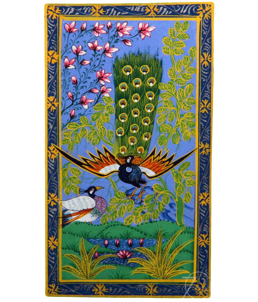 Handmade Indian Miniature Painting-Dancing Peacock and Peahen (With Black Frame)