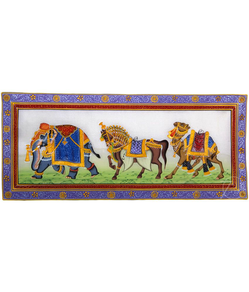 Handmade Indian Miniature Painting-Rajasthani Elephant,Horse,Camel Trio (With Black Frame)